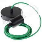 Pendel único, lámpara colgante cable textil Verde Brillante RL06