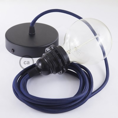 Pendel para pantalla, lámpara colgante cable textil Azul Marino en tejido Rayón RM20