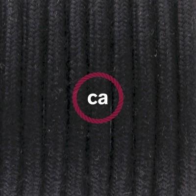 Pendel en porcelana, lámpara colgante cable textil Negro en Algodón RC04