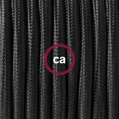Pendel en porcelana, lámpara colgante cable textil Negro en tejido Rayón RM04
