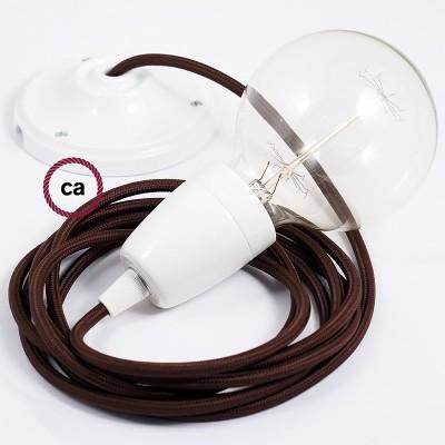 Pendel en porcelana, lámpara colgante cable textil Café en tejido Rayón RM13