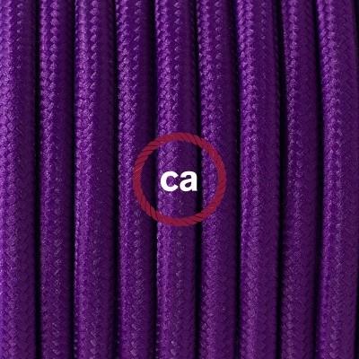 Pendel en porcelana, lámpara colgante cable textil Púrpura en tejido Rayón RM14