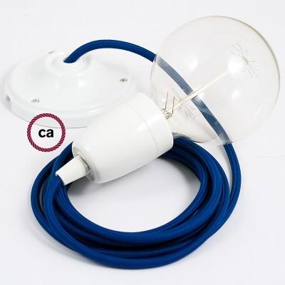 Pendel en porcelana, lámpara colgante cable textil Azul en tejido Rayón RM12