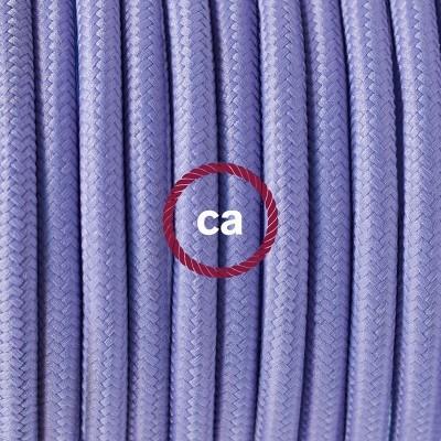 Pendel en porcelana, lámpara colgante cable textil Lila en tejido Rayón RM07
