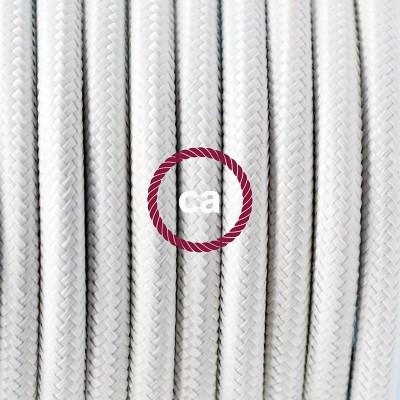Pendel en porcelana, lámpara colgante cable textil Blanco en tejido Rayón RM01