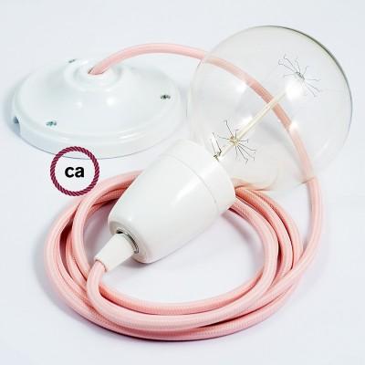 Pendel en porcelana, lámpara colgante cable textil Rosa Baby en tejido Rayón RM16