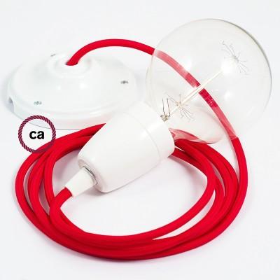 Pendel en porcelana, lámpara colgante cable textil Rojo en tejido Rayón RM09