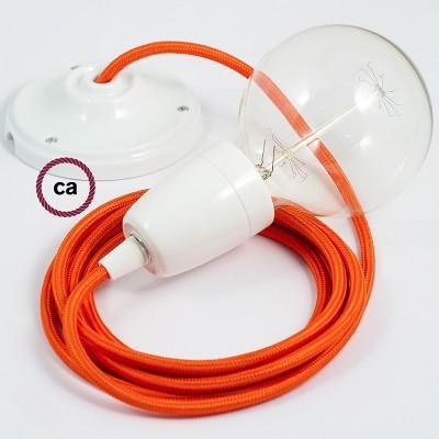 Pendel en porcelana, lámpara colgante cable textil Naranja en tejido Rayón RM15