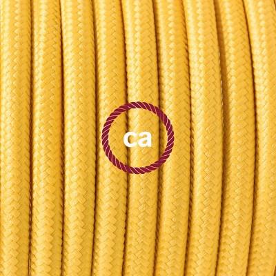 Pendel en porcelana, lámpara colgante cable textil Amarillo en tejido Rayón RM10