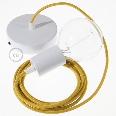 Pendel único, lámpara colgante cable textil Mostaza Rayón RM25
