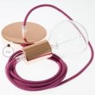 Pendel único, lámpara colgante cable textil Rojo Violeta Algodón RC32