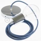 Pendel único, lámpara colgante cable textil ZigZag Azul Steward RD75