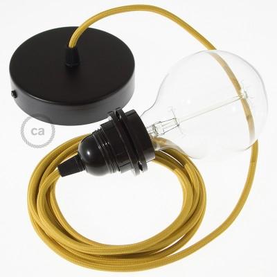 Pendel para pantalla, lámpara colgante cable textil Mostaza Rayón RM25