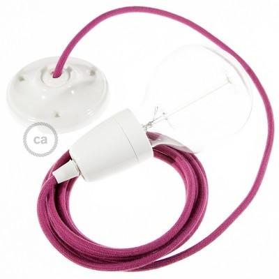 Pendel en porcelana, lámpara colgante cable textil Rojo Violeta en Algodón RC32
