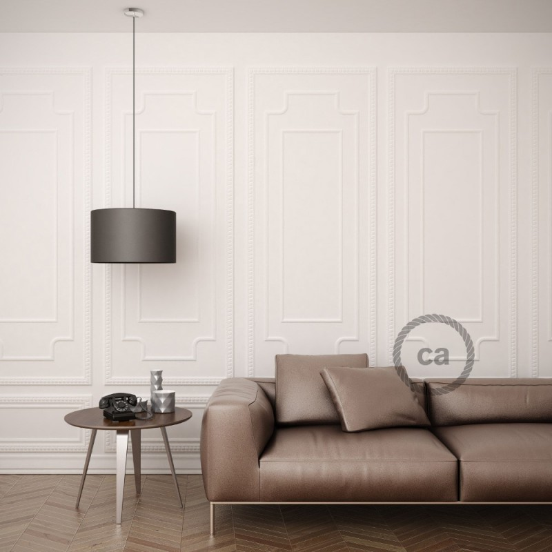 Pendel para pantalla, lámpara colgante cable textil Gris Oscuro Rayón RM26