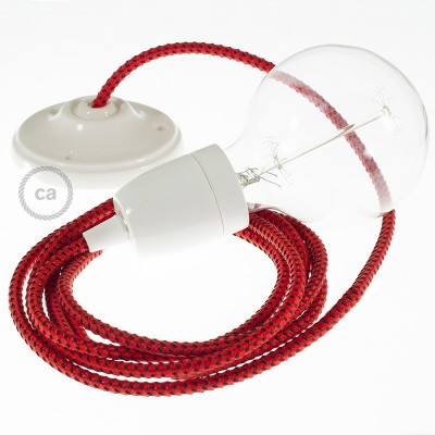 Pendel en porcelana, lámpara colgante cable textil Red Devil 3D RT94
