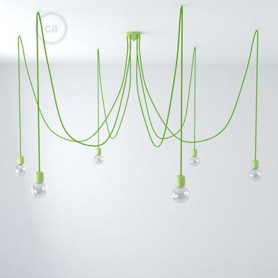Spider Cerámica Verde, Lámpara Colgante con 6-7 caídas, cable RM18 Verde, Made in Italy.