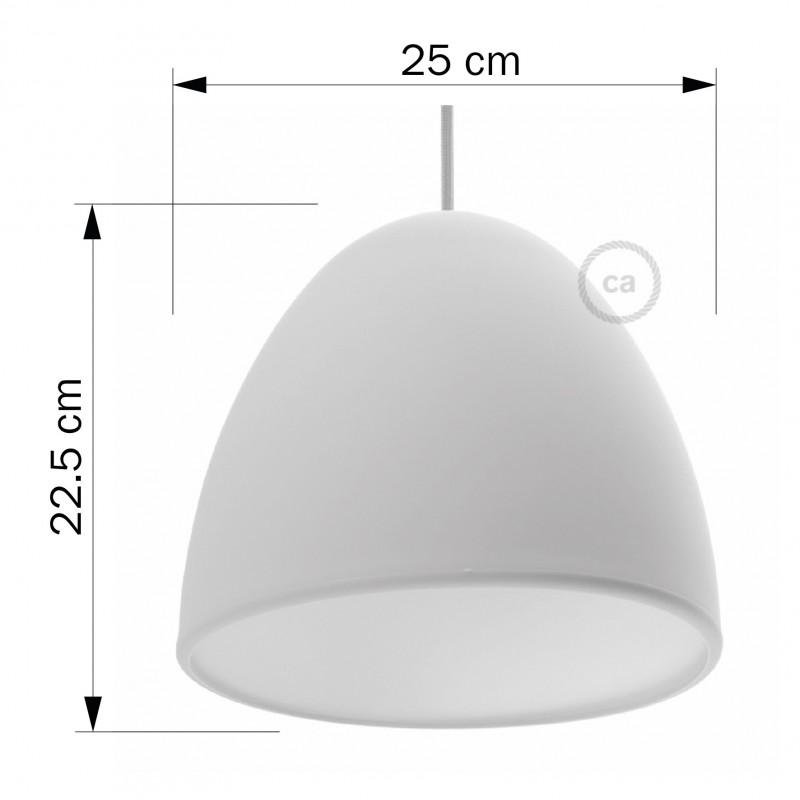 Pantalla en silicona blanca completo de difusor y prensaestopa. Diámetro 25 cm.
