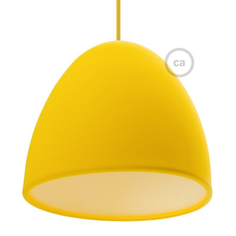 Pantalla en silicona amarilla completo de difusor y prensaestopa. Diámetro 25 cm.