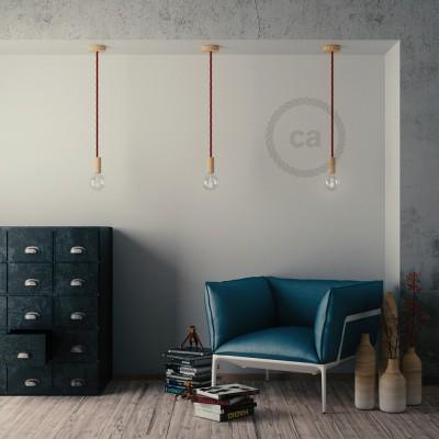 Lámpara colgante cordón náutico XL en tejido burdeos oscuro 16 mm, acabados en madera natural, Made in Italy