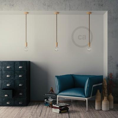 Lámpara colgante cordón náutico XL en yute en bruto 16 mm, acabados en madera natural, Made in Italy