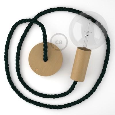 Lámpara colgante cordón náutico XL en tejido verde oscuro brillante 16 mm, acabados en madera natural, Made in Italy