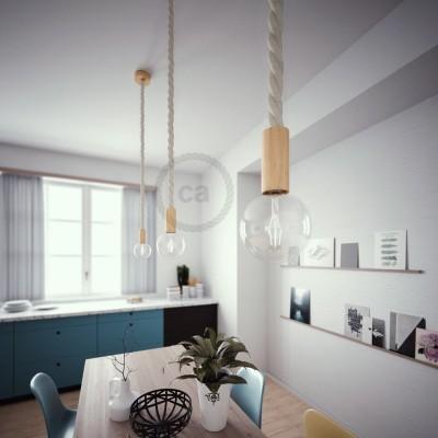 Lámpara colgante cordón náutico 3XL en algodón en bruto 30 mm, acabados en madera natural, Made in Italy