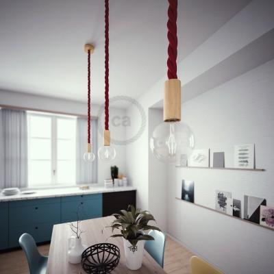 Lámpara colgante cordón náutico 3XL en tejido burdeos oscuro 30 mm, acabados en madera natural, Made in Italy
