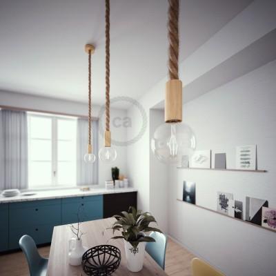 Lámpara colgante cordón náutico 3XL en yute en bruto 30 mm, acabados en madera natural, Made in Italy