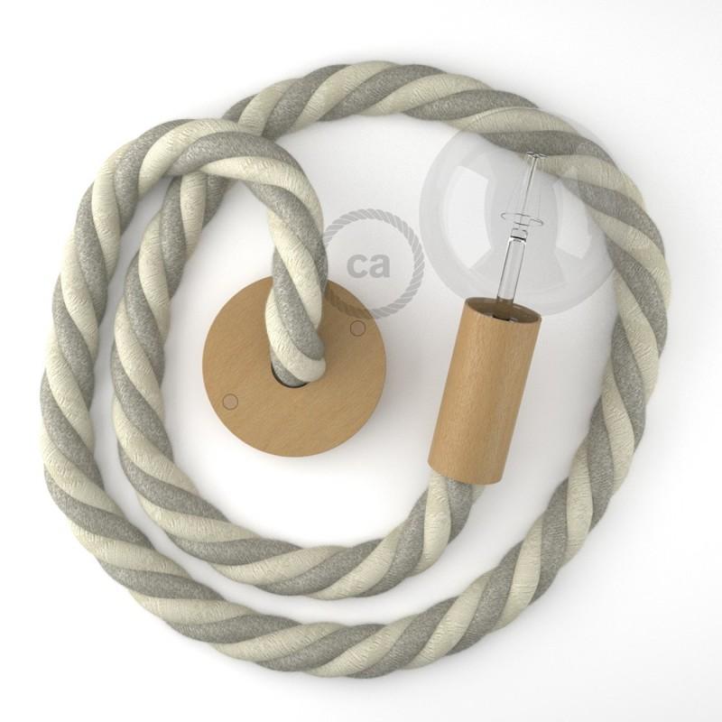 in en mmacabados en colgante lino bruto 30 madera natural cordón algodón en y Lámpara 3XL náutico Italy naturalMade 8nwOkPNZ0X