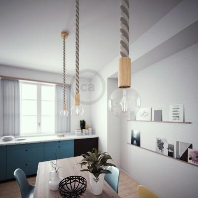 Lámpara colgante cordón náutico 3XL en algodón en bruto y lino natural 30 mm, acabados en madera natural, Made in Italy