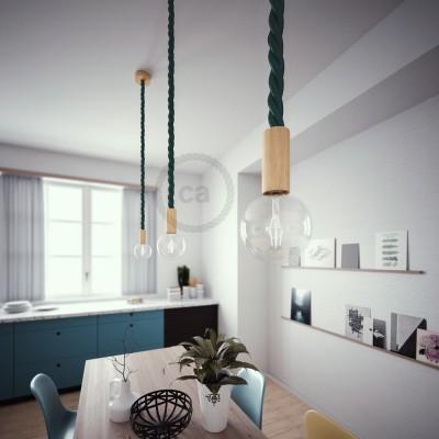 Lámpara colgante cordón náutico 3XL en tejido verde oscuro brillante 30 mm, acabados en madera natural, Made in Italy