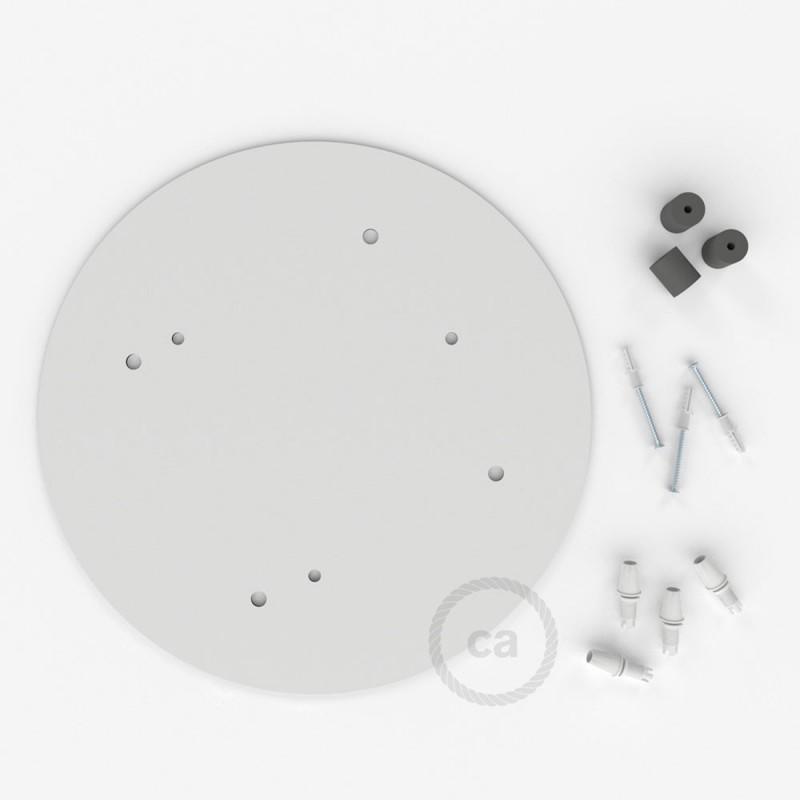 escudo XXL circular 35cm a 4 agujeros blanco completo de accesorios