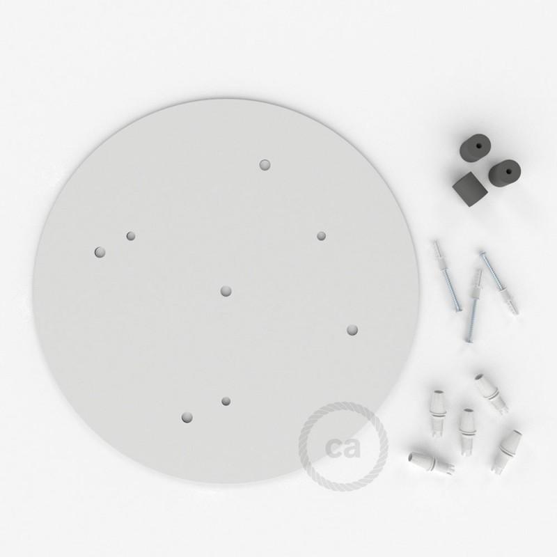 escudo XXL circular 35cm a 5 agujeros blanco completo de accesorios