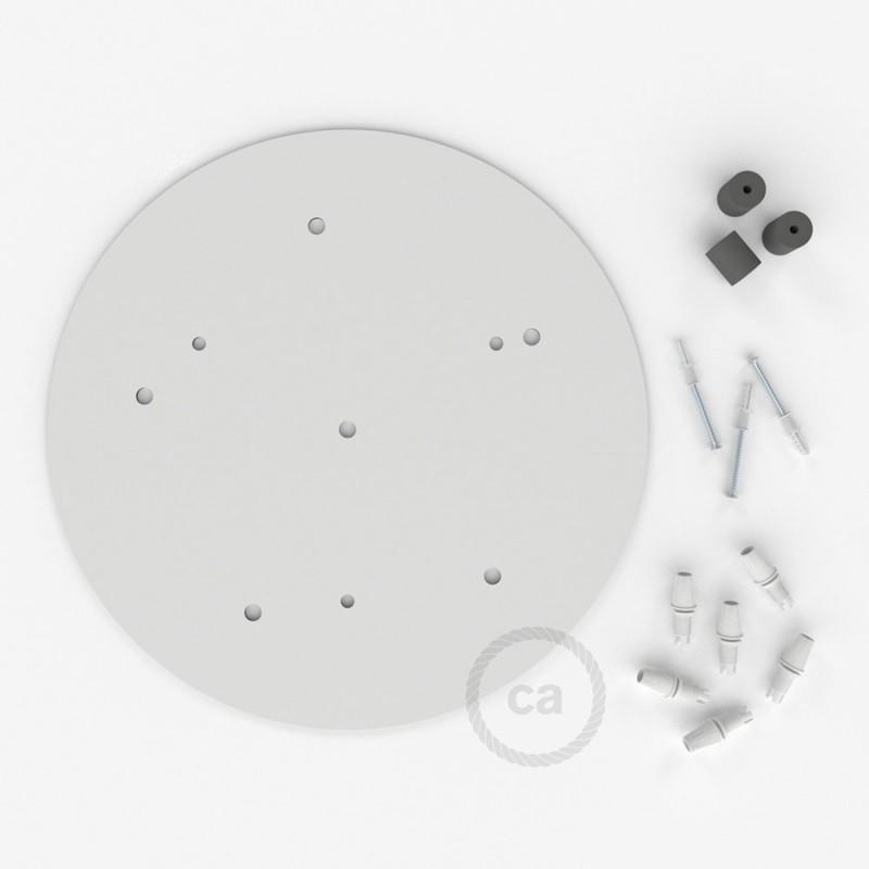 escudo XXL circular 35cm a 6 agujeros blanco completo de accesorios
