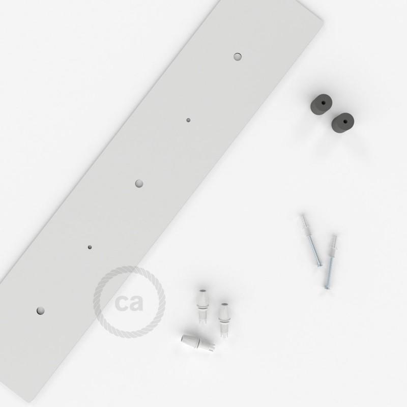 escudo XXL rectangular 60x12cm a 3 agujeros blanco completo de accesorios