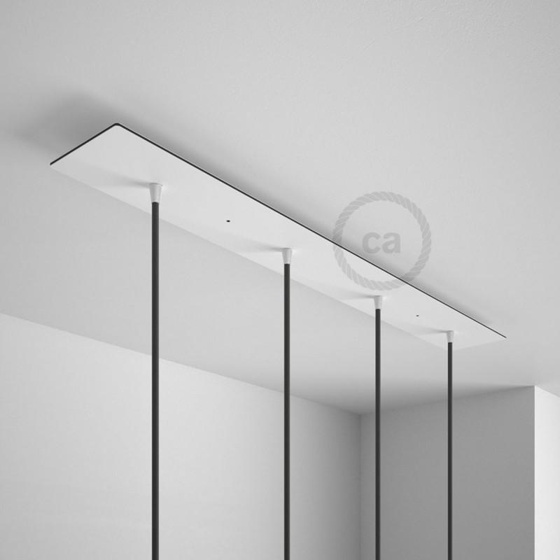 escudo XXL rectangular 90x12cm a 4 agujeros blanco completo de accesorios