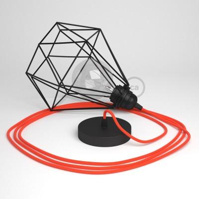 Lámpara colgante con jaula Diamond color negro y cable RF15 Rayón Naranja Fluorescente
