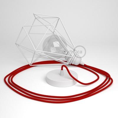Lámpara colgante con jaula Diamond color blanco y cable RM09 Rayón Rojo