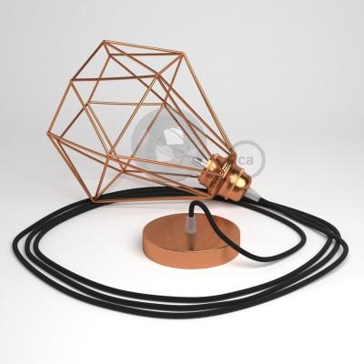 Lámpara colgante con jaula Diamond acabado cobre y cable RC04 Algodón Negro