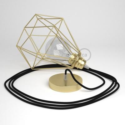 Lámpara colgante con jaula Diamond acabado latón y cable RM04 Rayón Negro