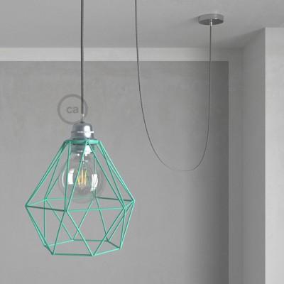 Lámpara colgante con jaula Diamond color turquesa y cable RN02 Lino Natural Gris