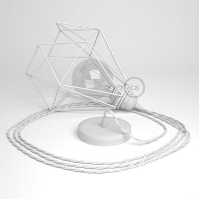 Lámpara colgante con jaula Diamond color blanco y cable TC01 Algodón Blanco
