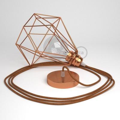 Lámpara colgante con jaula Diamond acabado cobre y cable RL22 Rayón Brillante Cobre