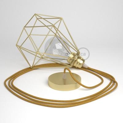 Lámpara colgante con jaula Diamond acabado latón y cable RL05 Rayón Brillante Dorado