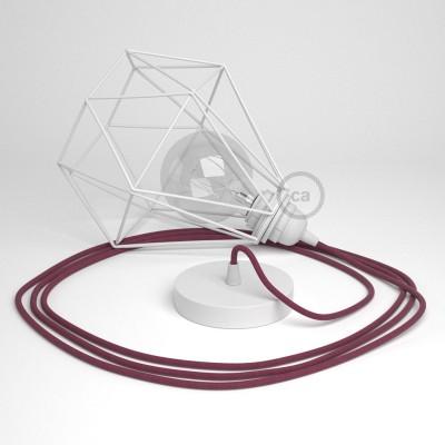 Lámpara colgante con jaula Diamond color blanco y cable RC32 Algodón Rojo Violeta