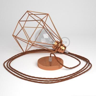 Lámpara colgante con jaula Diamond acabado cobre y cable TZ22 Rayón Negro y Whisky
