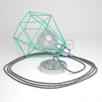 Lámpara colgante con jaula Diamond color turquesa y cable TN02 Lino Natural Gris