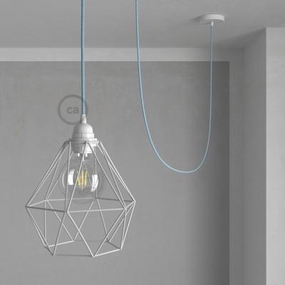 Lámpara colgante con jaula Diamond color blanco y cable RD75 Algodón y Lino Natural ZigZag Azul Steward