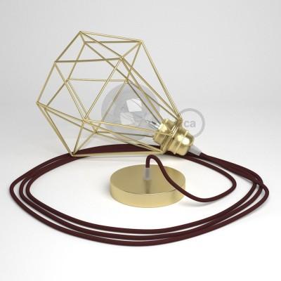 Lámpara colgante con jaula Diamond acabado latón y cable RM19 Rayón Burdeos